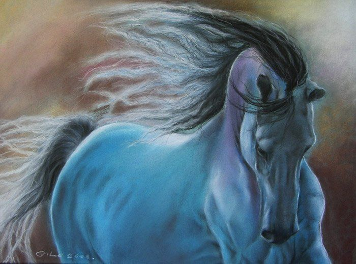 Pretty Horse pastel painting, I love the blue tones.
