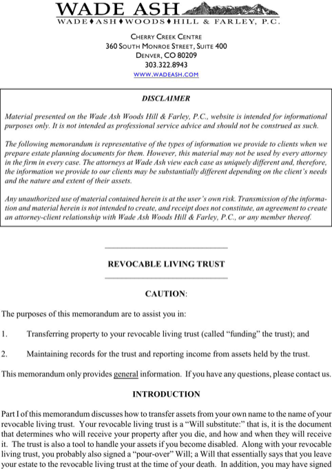 Revocable Living Trust Form  TemplatesForms    Chart