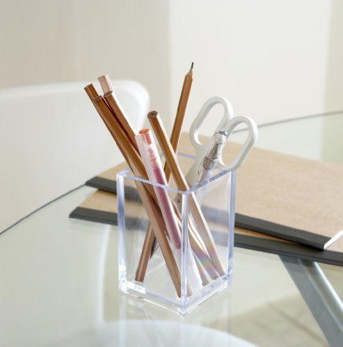 Acrylic Pen Pot The Holding Company http://www.amazon.co.uk/dp/B006H1Q2DK/ref=cm_sw_r_pi_dp_8jU7wb19F2KQ9