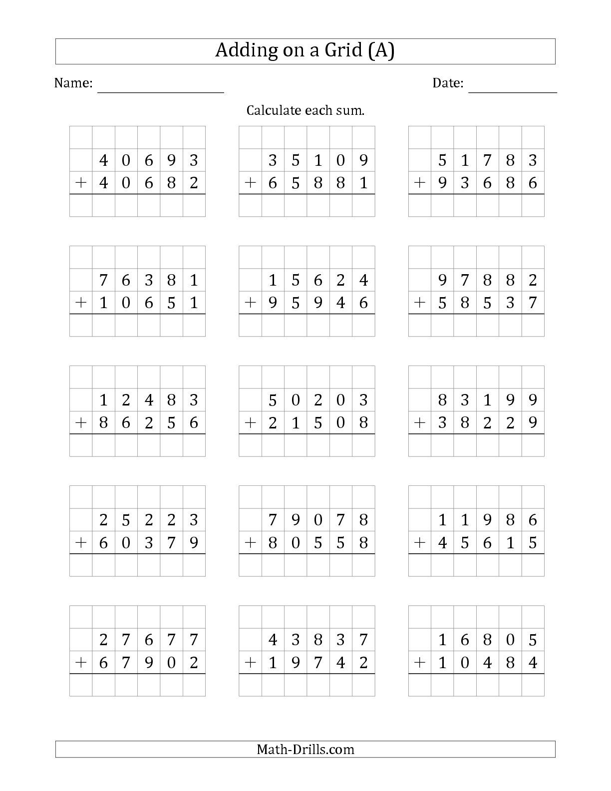 The Adding 5 Digit Plus 5 Digit Numbers On A Grid A Math