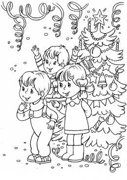 Раскраска Дети и елка | Раскраски, Рисунки для ...
