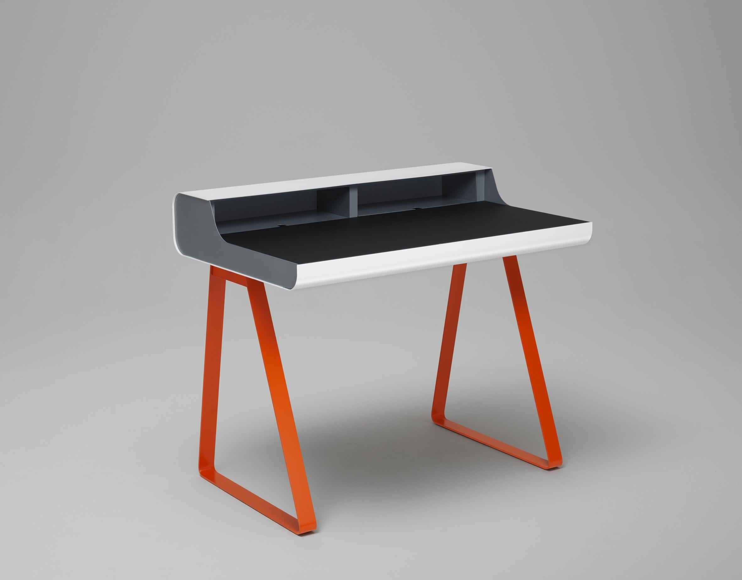Bureau PS10 Blanc et orange Meuble design Müller