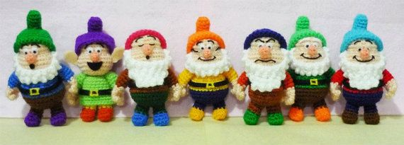How amazing!!! One set Seven Dwarf Crochet Ammigurumi- Finish Doll. $89.00, via Etsy.