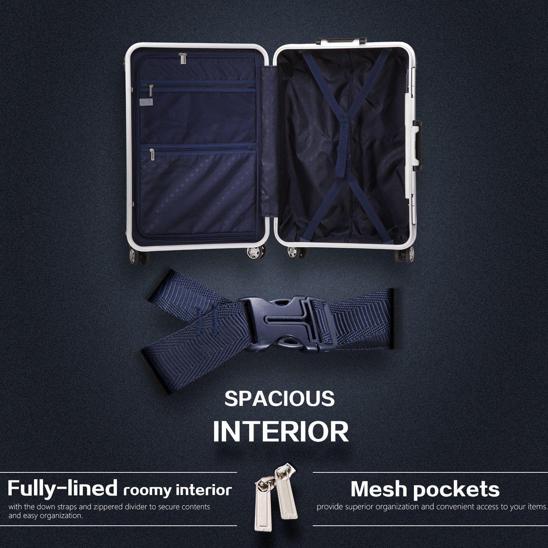 e3a2c6b2dd0e Coolife Luggage Aluminium Frame Suitcase with TSA Lock 100% PC (M ...