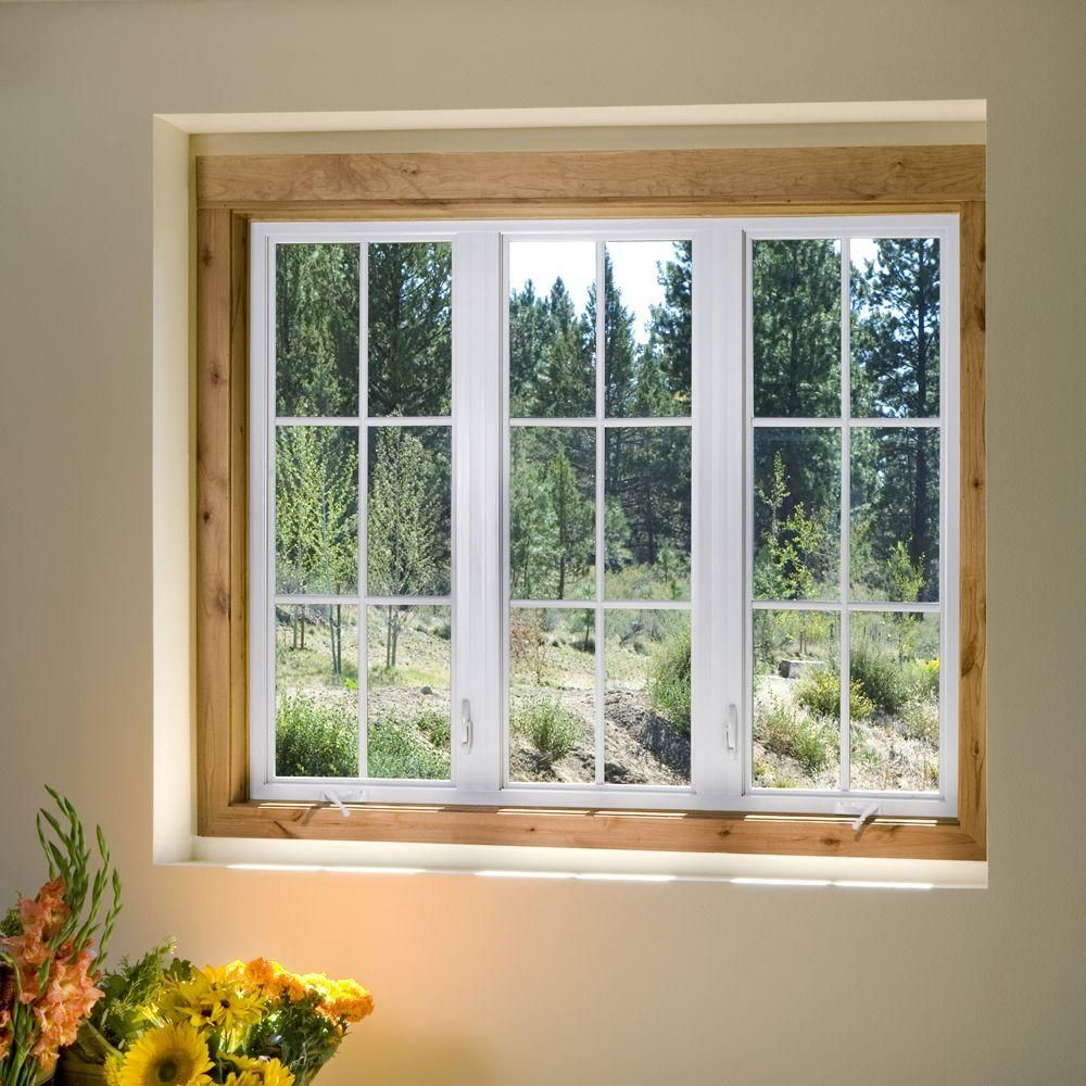 Jeld Wen 23 5 In X 23 5 In V 4500 Series Left Hand Casement Vinyl Window With Grids Gray Thdjw140000268 The Home Depot Casement Windows Windows Casement