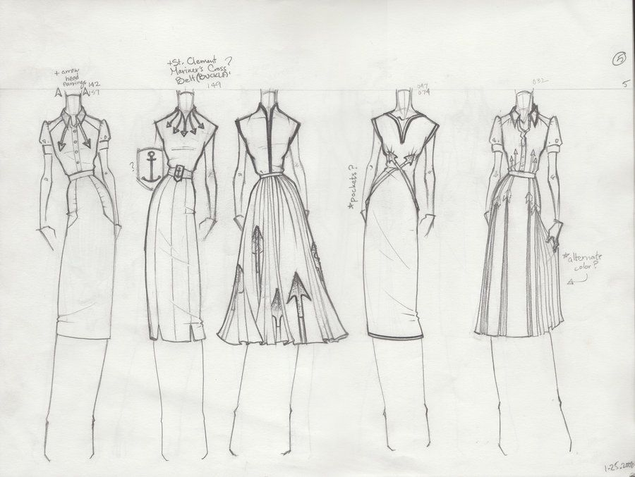 Fashion Sketchbook pages - fashion design drawings; dress sketches ...
