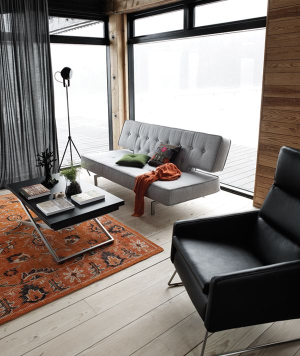 Mid Century Home Office Featuring Bo Concept Sleeper Sofa Some Day Soon