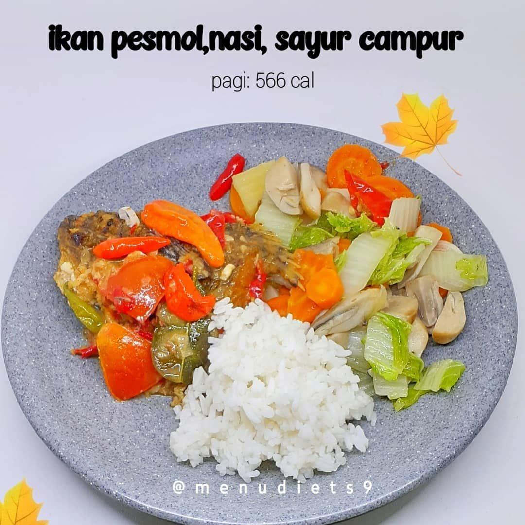 Menu Diet Sehat Di Instagram Assalaamualaikum Halo Semuanya Makan Siang Ada Pesmol Nasi Dengan Tumis Sayur Campur Pesmolnya Seperti Bias Food Salad Cobb