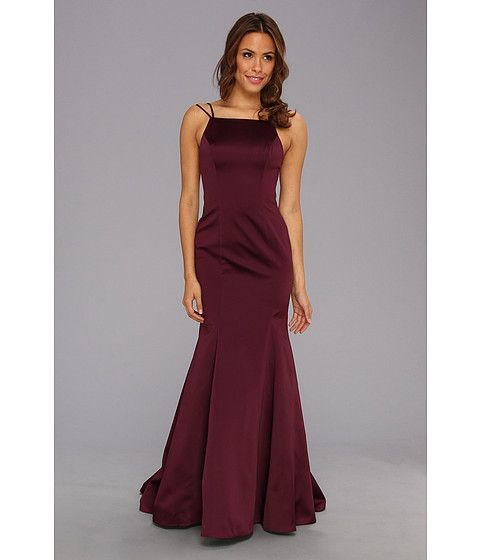 ABS Allen Schwartz Double Strap Open Back Mermaid Dress Amethyst - purple brides maid