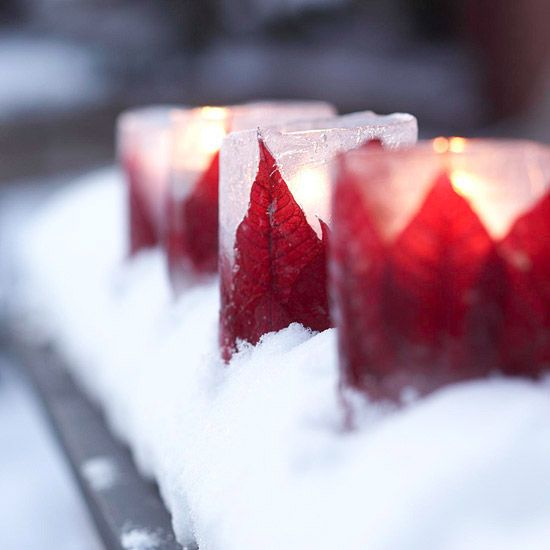 Poinsettia Luminarias - Holiday Winter Glowing Candles - DIY Christmas Decoration