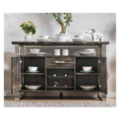 Iohomes Larimore Rustic Style Dining Server Table Gray Homes Inside Out Dining Table Dimensions Dining Server Solid Wood Table Tops