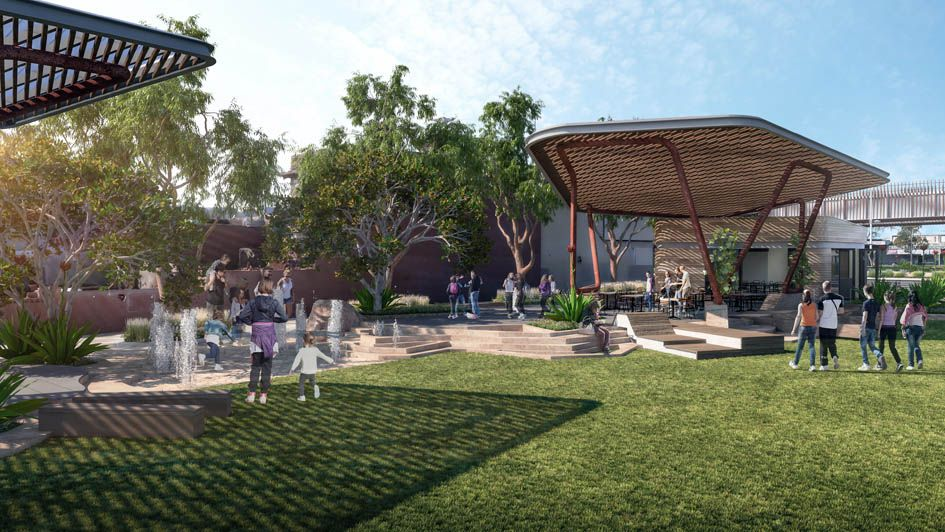 Design render for beach promenade with waterplay area and