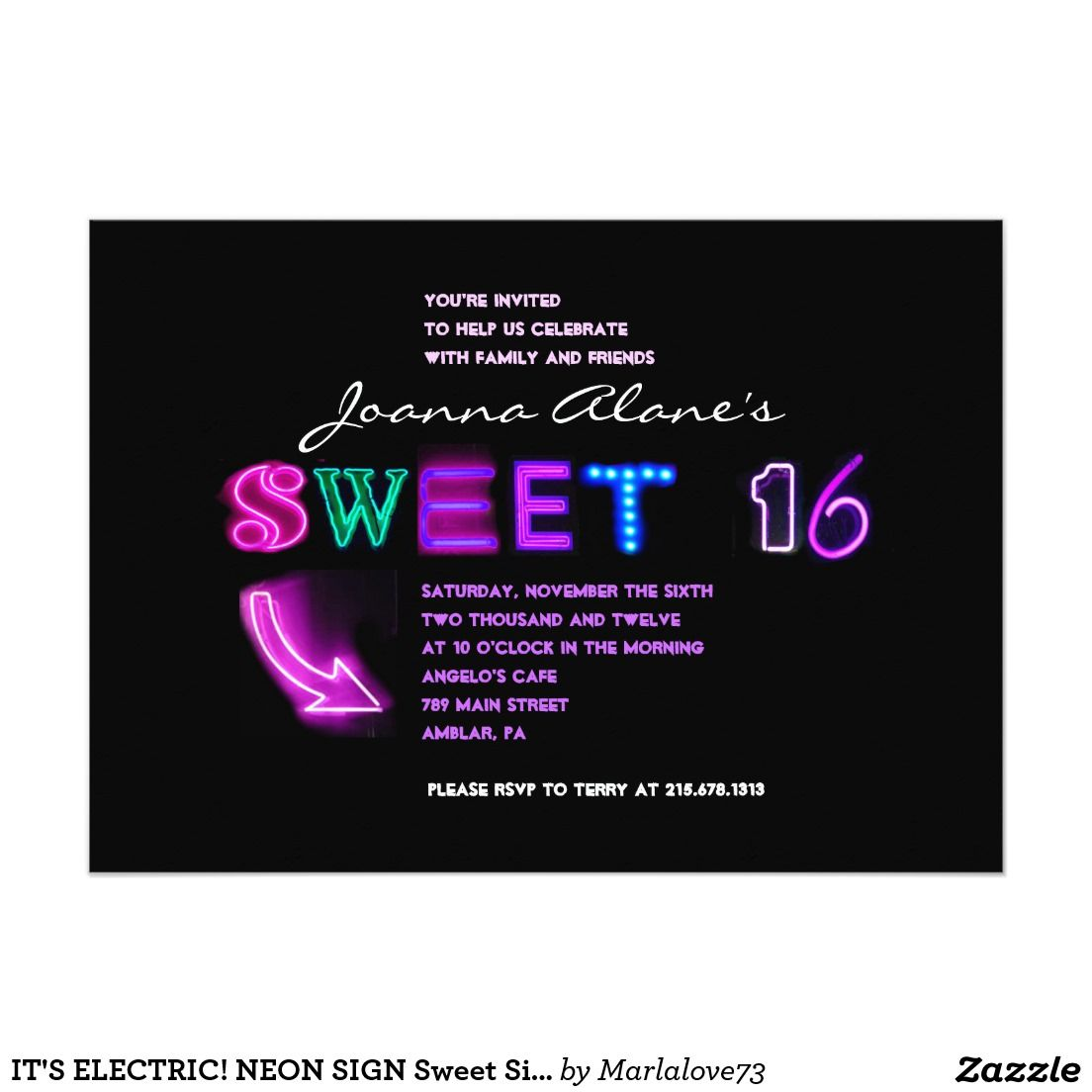 IT\'S ELECTRIC! NEON SIGN Sweet Sixteen Invitation | Sweet sixteen ...