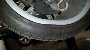 Mercedes rim bent from hitting a pothole causing a vibration in the car while driving.