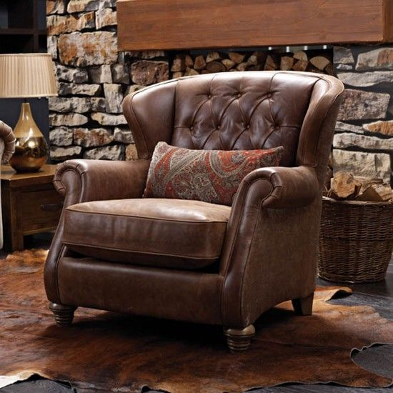 oscar leather wing chair from rossiters of bath