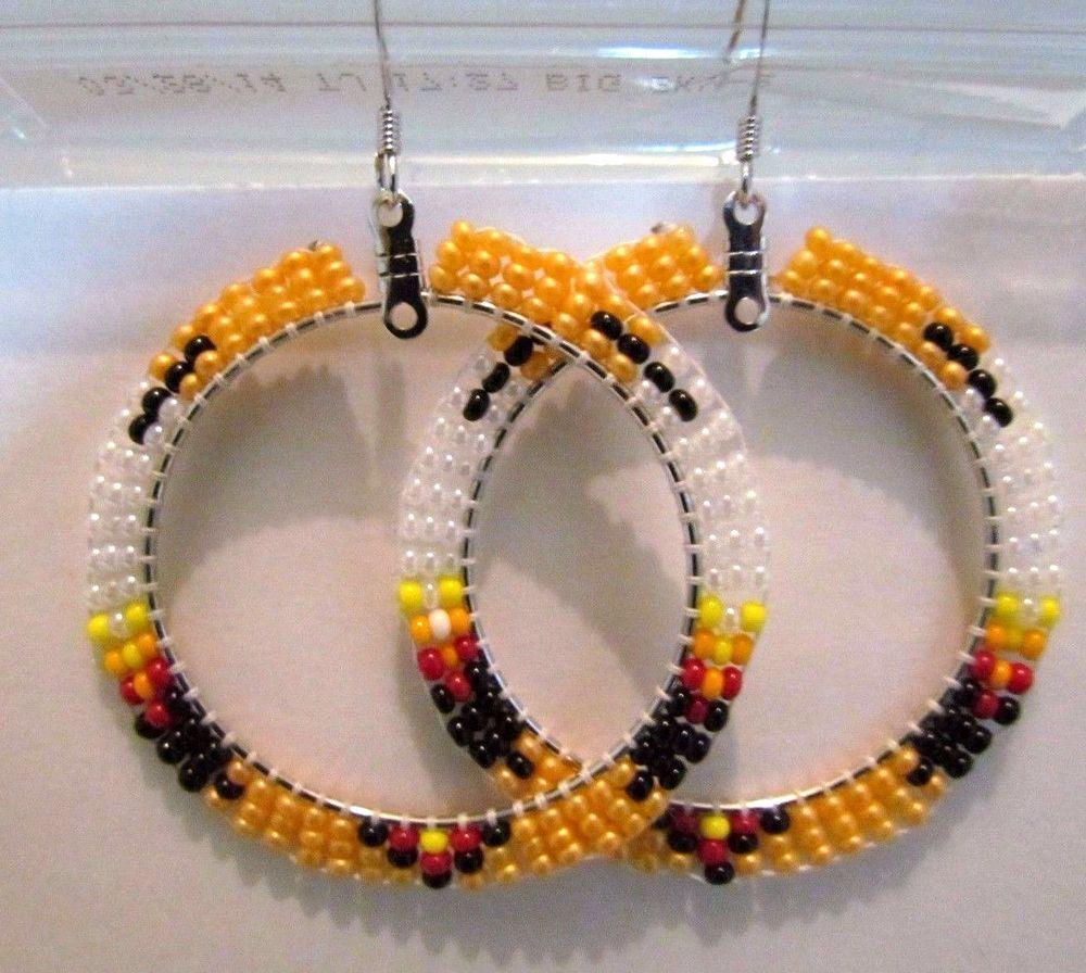Beautiful native american beaded hoop earrings 2 inches