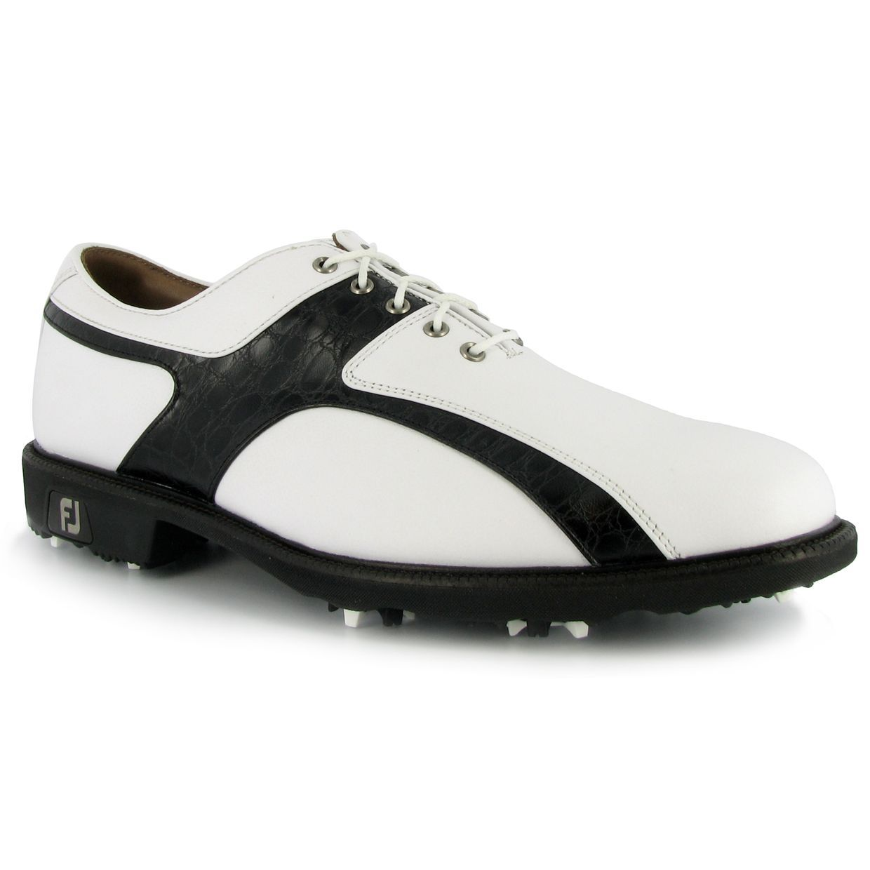 Footjoy Icon Black Caiman Print White Tumbled 13 Medium