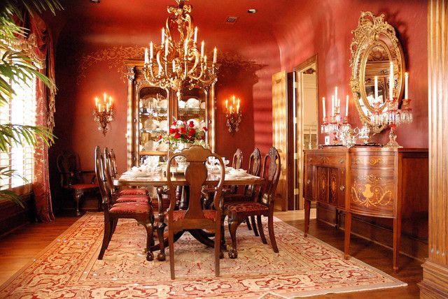 Delicieux Red Walls, Dark Table, Chandelier · Red WallsChandeliersDining Room