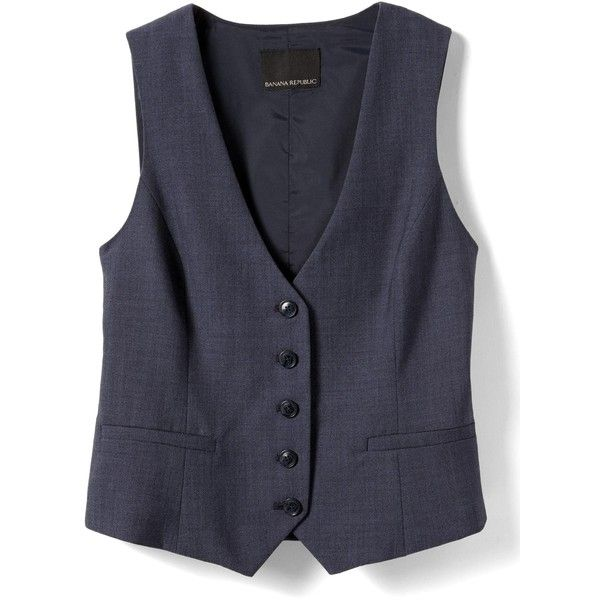 Banana Republic Womens Buttoned Navy Lightweight Wool Vest ($98) ❤ liked on Polyvore featuring outerwear, vests, navy waistcoat, navy blue vest, lightweight vest, woolen vest and blue vest