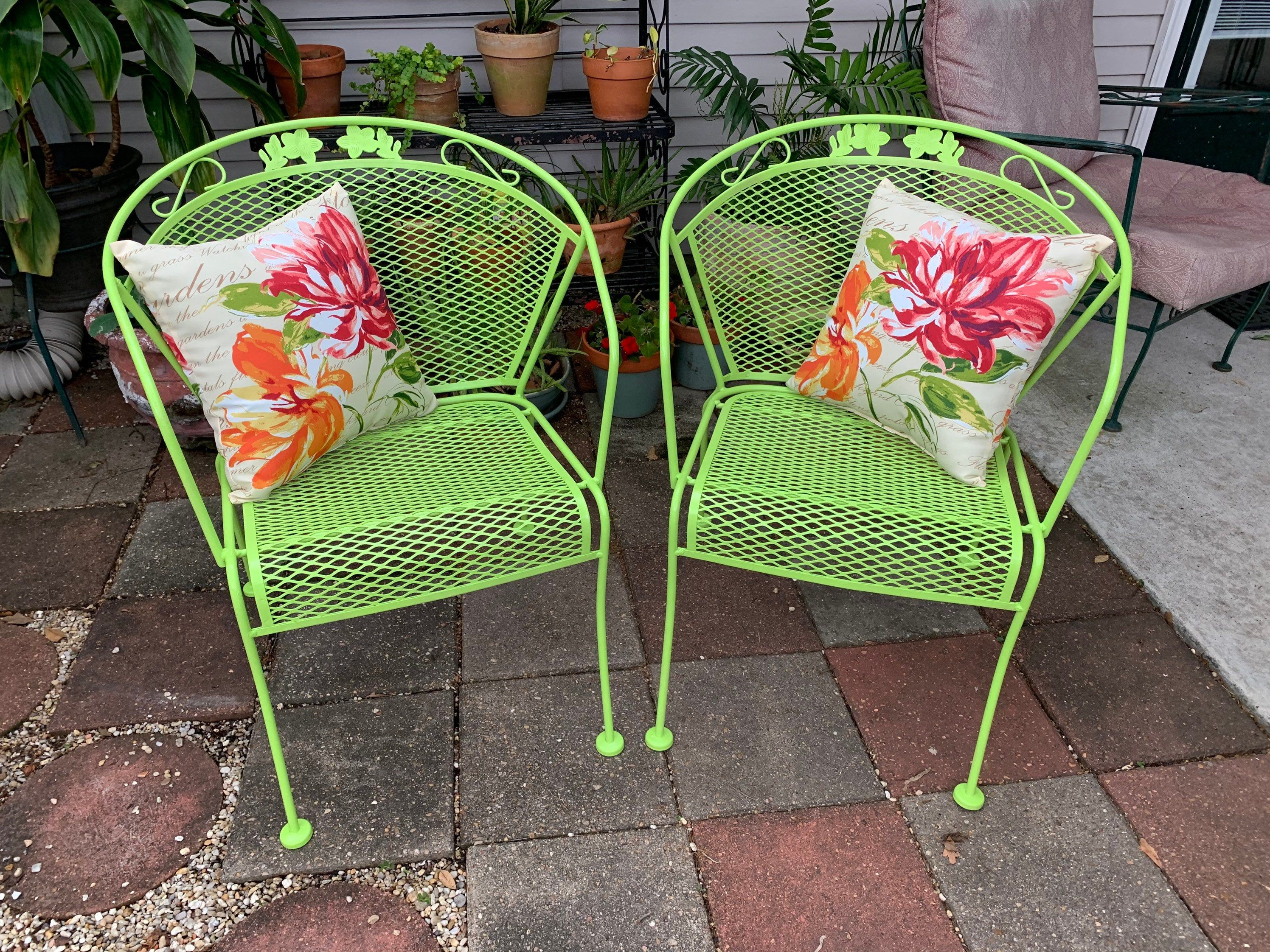Excited To Share This Item From My Etsy Shop Pair Of Wrought Iron Barrel Patio Chairs Lime Green Pill Lime Green Pillows Wrought Iron Patio Set Green Pillows