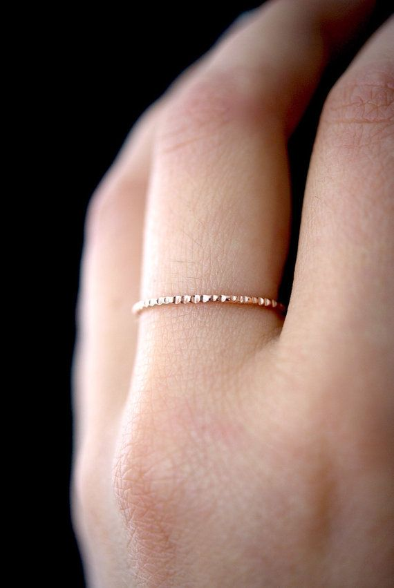 Lined Rose Gold ring, 14K Rose Gold fill ring, rose gold stacking ...