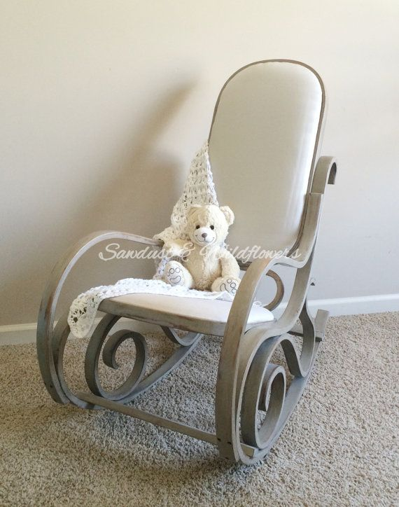 RESTYLED CALIFORNIA BENTWOOD ROCKER This Rocker Has Been Painted In Annie  Sloan Paris Grey, Distressed And Dark Waxed. Fabric Is Duck Canvas In Light  Grey ...