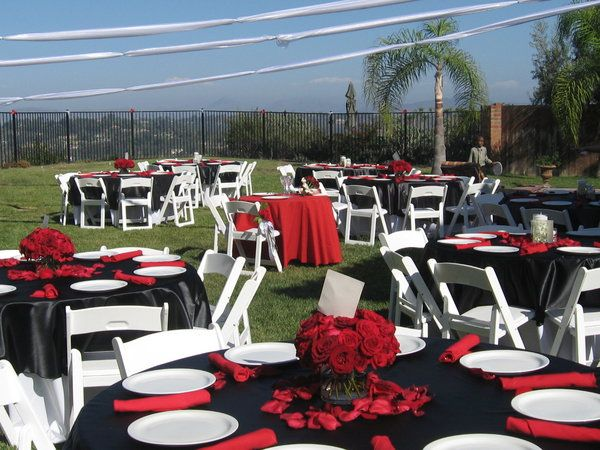 Wedding Reception White Red And Black