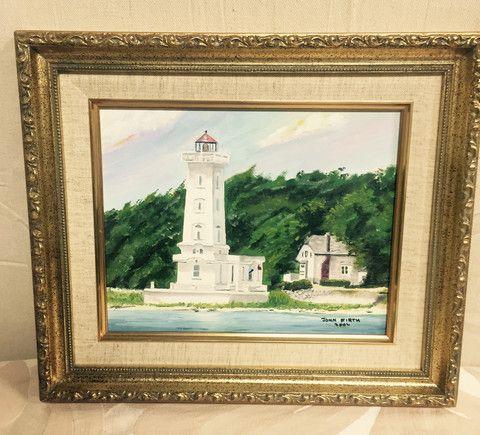 Greystone Fine Furniture - Gold framed lighthouse original oil John Firth $65