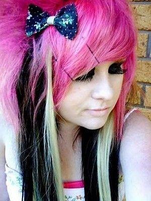 hot pink scene hair popular emo