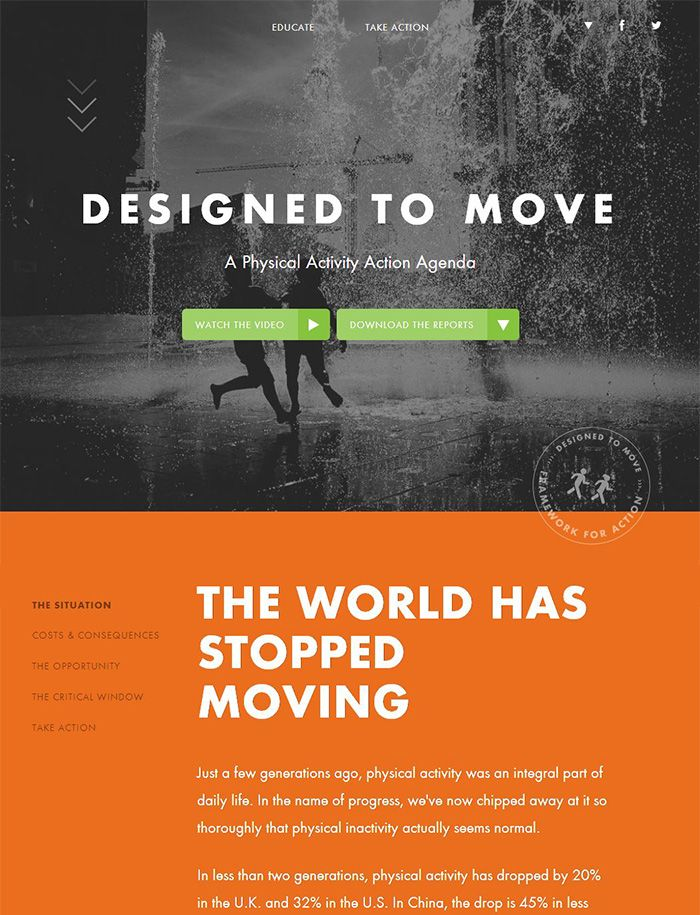 a3b67f2bbe1 Designed to Move has a beautiful vertically-scrolling website. The site  loads to a