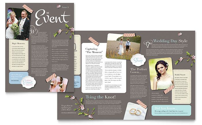 Wedding Planner Newsletter Design Template by StockLayouts - free business newsletter templates