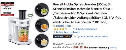 Russell Hobbs 2381056 Spiralschneider mit 3