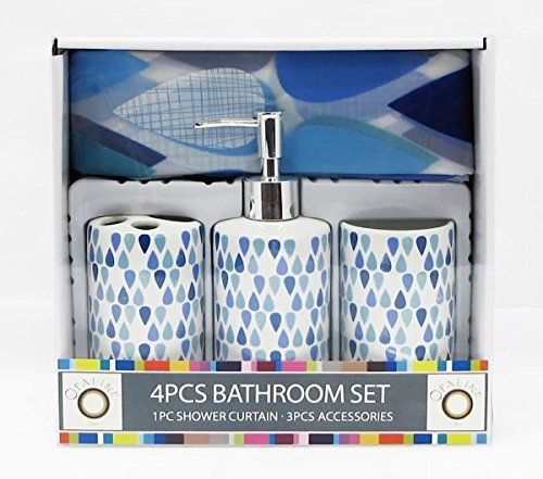 Blue Teardrops Raindrops Design 4 Piece Ceramic Bath Ensemble With