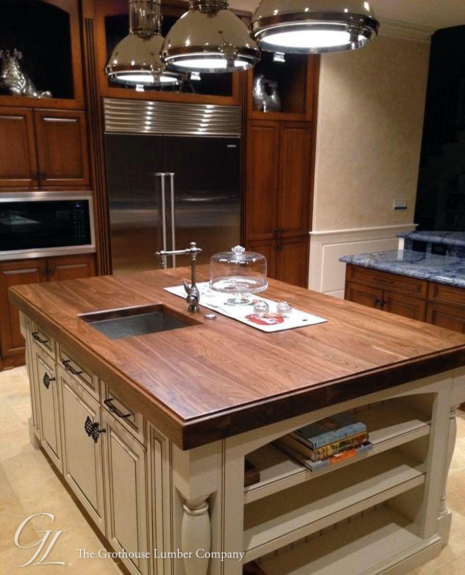 Walnut Wood Kitchen Island Countertop Cream Color Cabinets Under