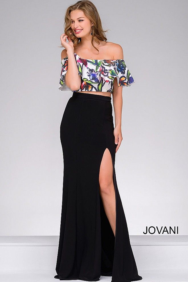 Black Multi Floral Off The Shoulder Two Piece Fitted Prom Dress