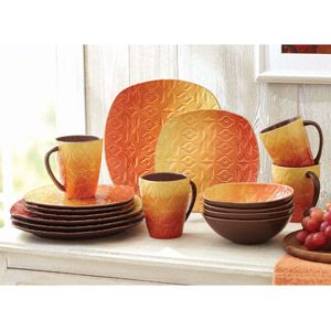 Better Homes and Gardens Southwest 16-Piece Square Dinnerware Set Orange  sc 1 st  Pinterest : orange square dinnerware - Pezcame.Com