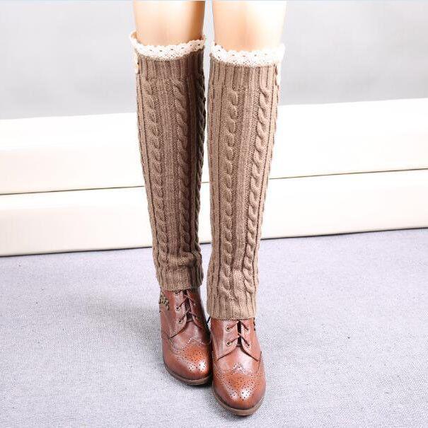 1 Pair Warm Knitted Socks To The Knee Women Leg Warmers Knitting Gaiters Long Legwarmers Polainas Renda Bota