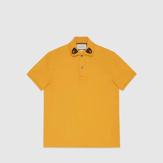 ef3f71d36cd Gucci Cotton polo with panther embroidery