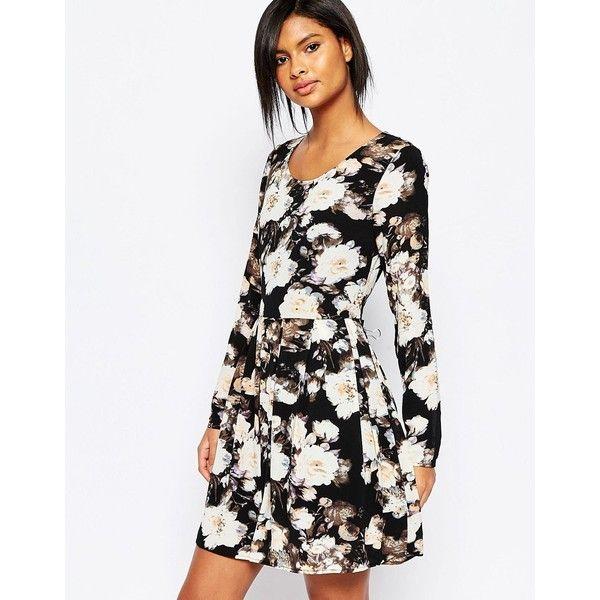 Vila Floral Skater Dress ($60) ❤ liked on Polyvore featuring dresses, multi, floral print skater dress, print dress, scoop neck dress, skater dress and full floral skirt