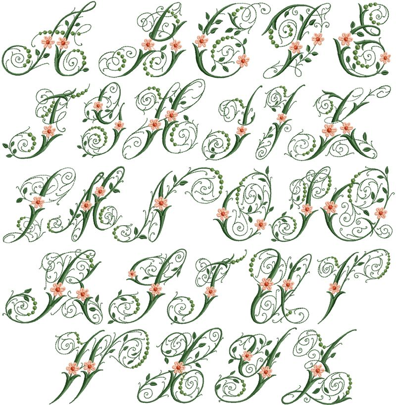 Victoria flowers font fonts lettering printables fun art for Embroidered alphabet letters