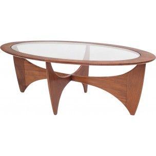 Table Basse Ovale Astro En Teck Et Verre 1960 Table Basse Ovale Table Basse Table Basse Ovale En Verre