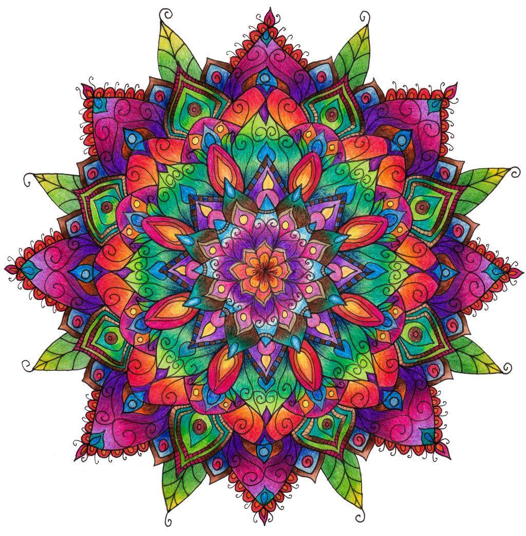 Finished Mandala Colouring Mandala Coloring Pages Colorful Mandala Tattoo Mandala