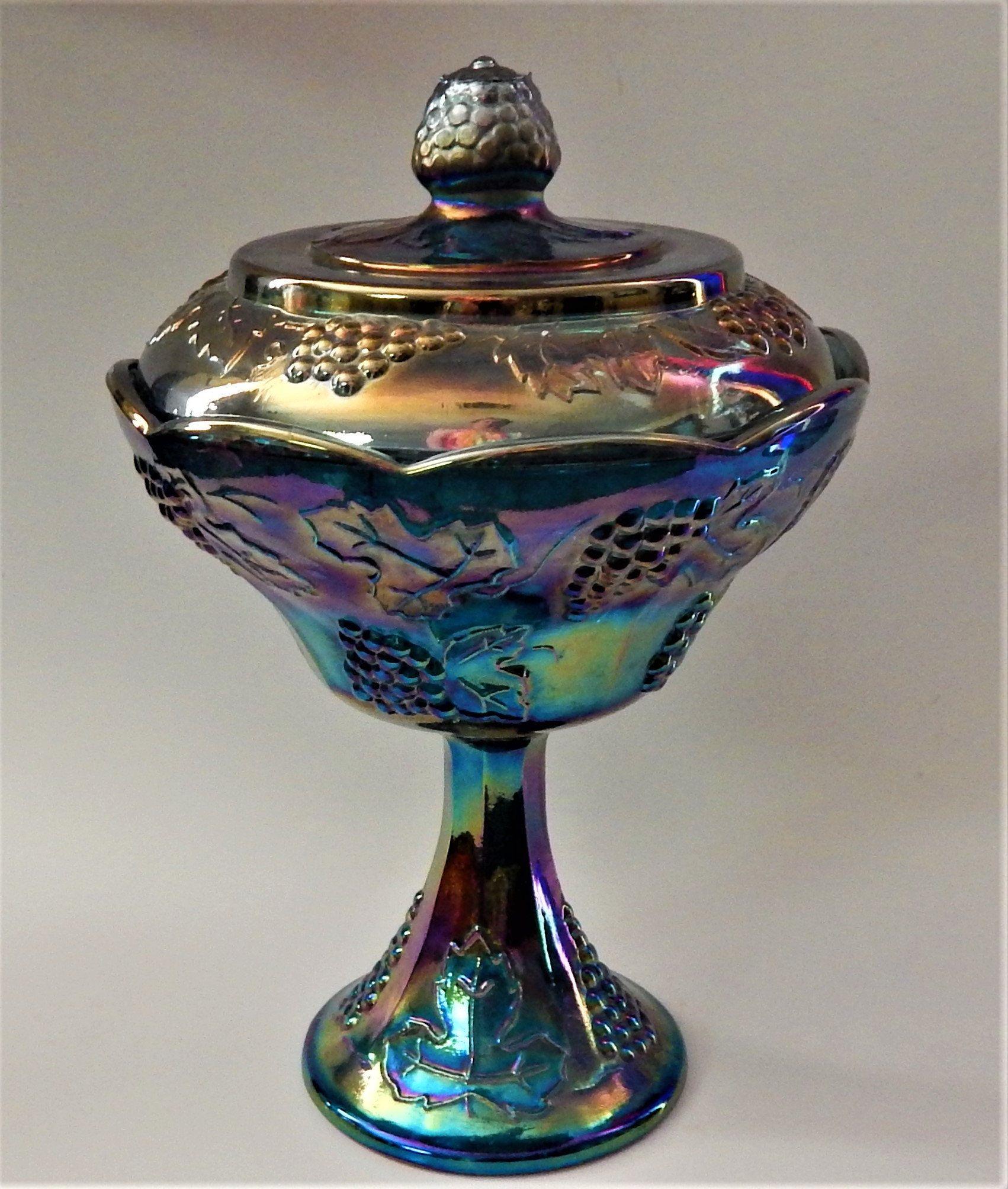 Indiana Carnival Glass Iridescent Amethyst Blue Harvest