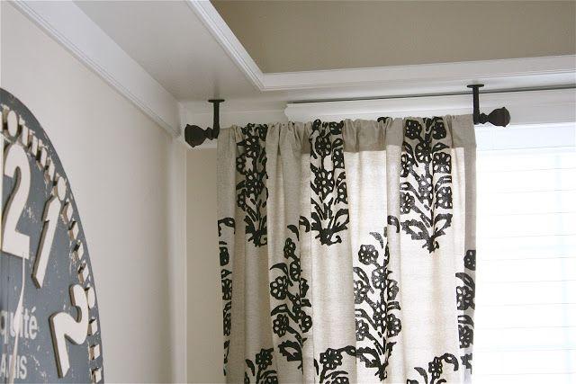 Rustic Industrial Loft Design Ceiling Mount Curtain Rods