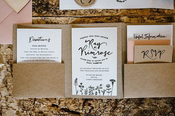 Rustic Wedding Invitations Nz: Rustic Wedding Invitation, Rustic Wedding, Pocket Fold