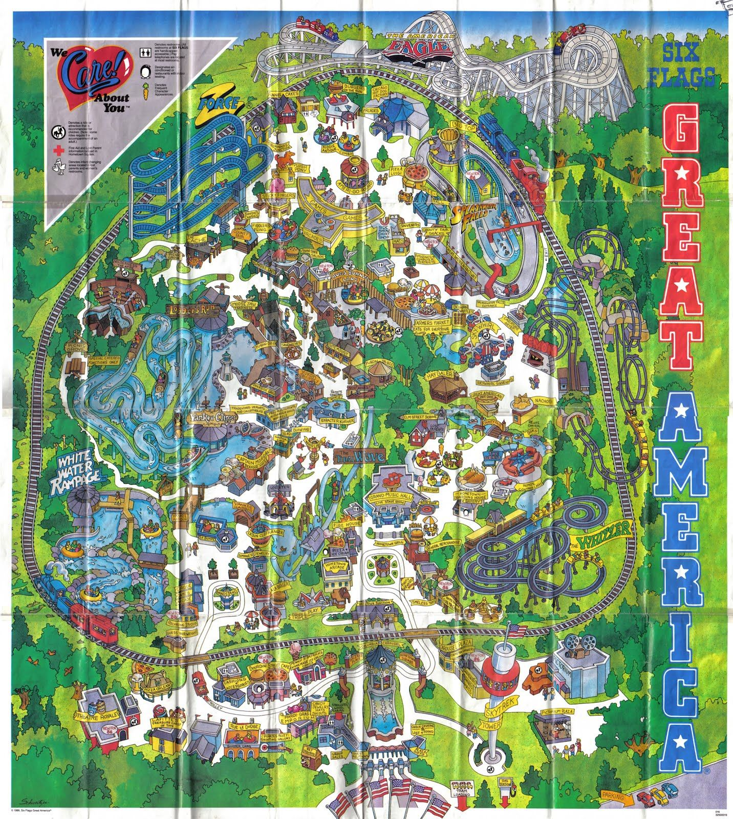 Six Flags Great America Illinois Theme Park Map America Theme Great America