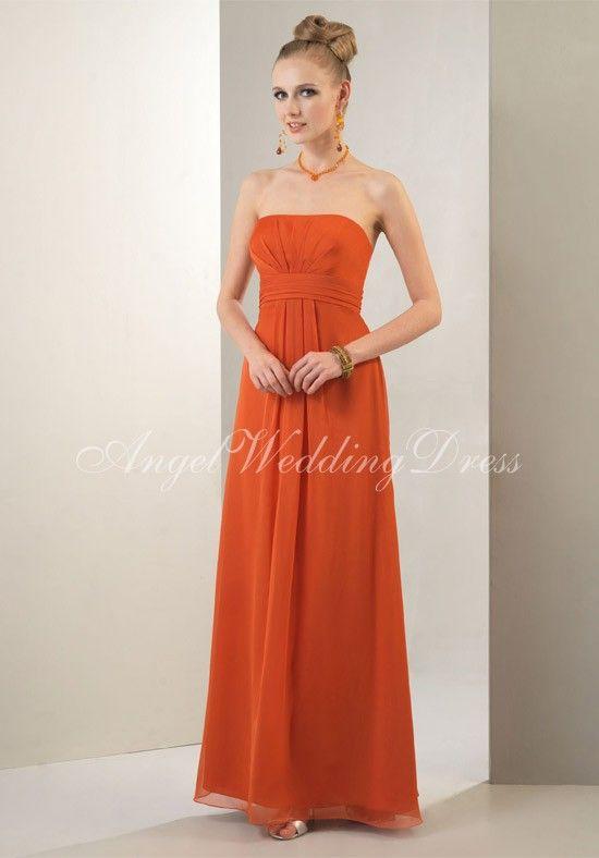 A-Line Strapless Floor Length Iridescent Chiffon Bridemaid Dress Style BD81263