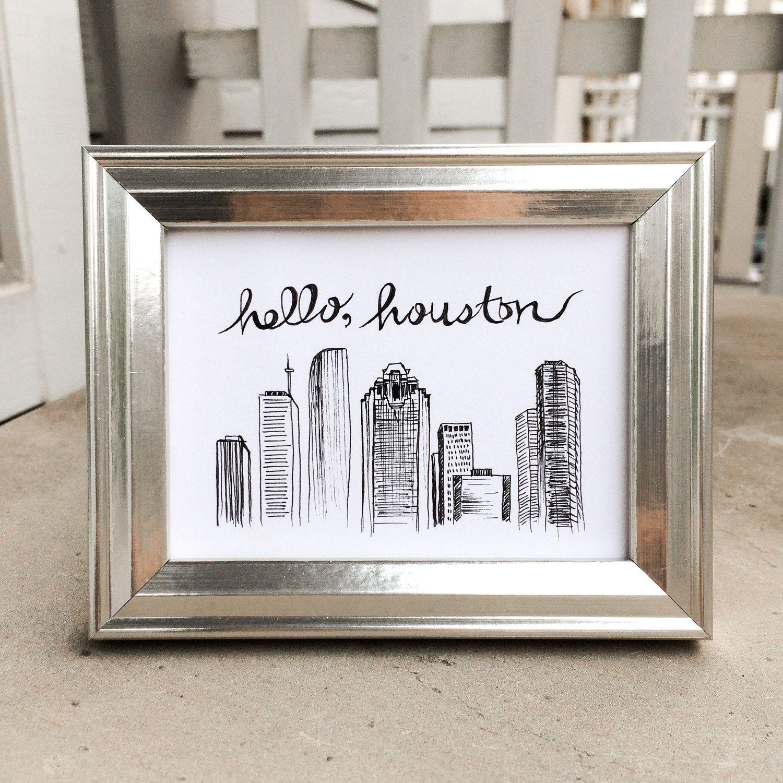Houston Illustration, We Heart Houston Downtown Skyline Drawing ...