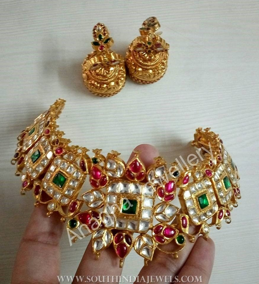 Gold antique kundan choker from anagha jewellery choker gold and