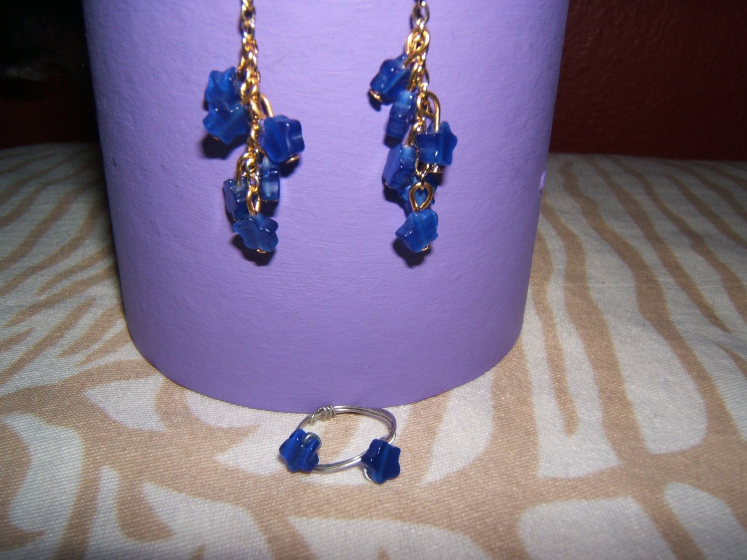 Blue Stars Earrings and Ring by BJDevine on Etsy